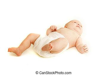 赤ん坊, 上に, 白