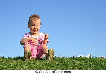 赤ん坊, 上に, 草