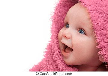 赤ん坊, 中に, ピンク, 毛布
