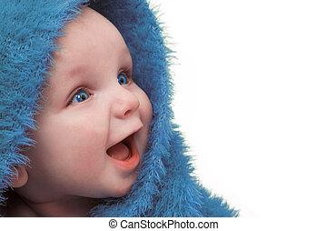 赤ん坊, 中に, 青いブランケット