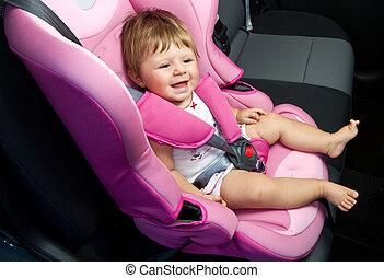 赤ん坊, 中に, a, 安全, 自動車, seat., 安全, そして, セキュリティー