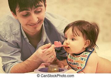 赤ん坊, 供給, 楽しい家, 父, 女の子