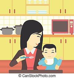 赤ん坊, 供給, illustration., ベクトル, 母