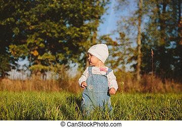 赤ん坊, 公園, 歩く