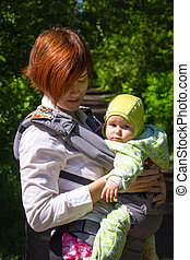 赤ん坊, 公園, 遊び, 母
