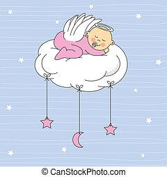 赤ん坊, 天使, 女の子, 服を着せられる