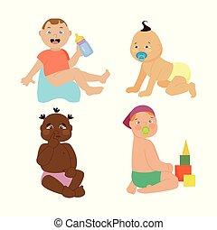 赤ん坊, 子供, illustration., ベクトル, 感情