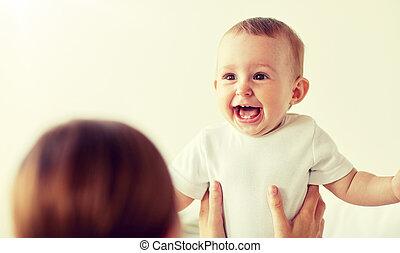 赤ん坊, 家, わずかしか, 幸せ, 母