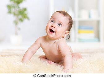 赤ん坊, 家, モデル, 床