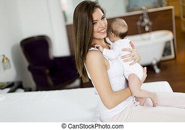 赤ん坊, 家, 幸せ, 母