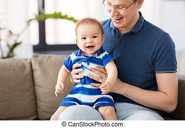 赤ん坊, 家, 幸せ, 父, 息子