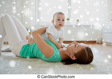 赤ん坊, 家, 幸せ, 遊び, 母