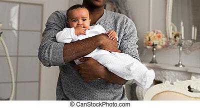 赤ん坊, 家, 父, 遊び, 息子