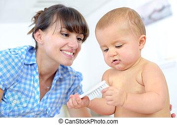 赤ん坊, 家, 若い, 母