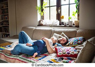 赤ん坊, 家, sleeping., 父, 女の子