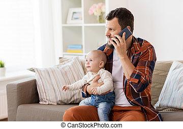 赤ん坊, 家, smartphone, 父, 呼出し