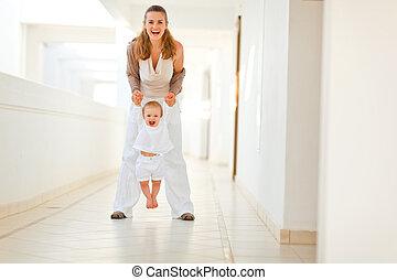 赤ん坊, 幸せ, 屋外, 遊び, 母