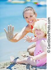 赤ん坊, 幸せ, 浜, 挨拶, 母