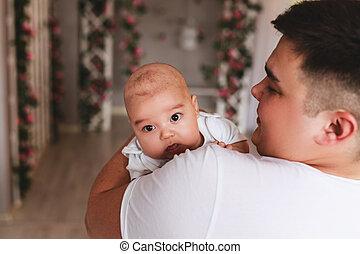 赤ん坊, 幸せ, 父, アジア人, 息子