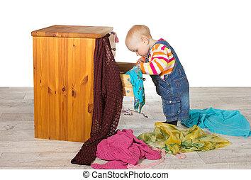 赤ん坊, 幸せ, 荷を解くこと, 衣服