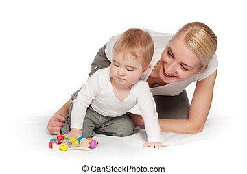 赤ん坊, 幸せ, 遊び, 彼女, 母