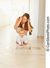 赤ん坊, 幸せ, 遊び, 母