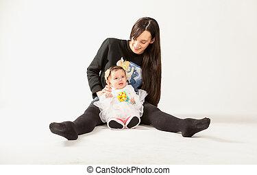 赤ん坊, 床, スタジオ, 母, モデル