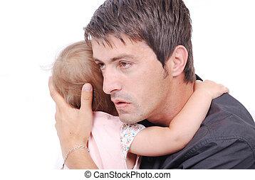 赤ん坊, 彼の, 父, 若い, huging