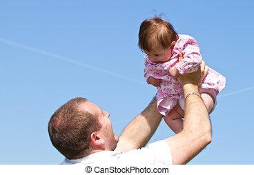 赤ん坊, 彼の, 父, 遊び