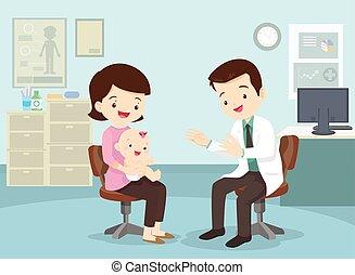 赤ん坊, 彼女, 母, 見なさい、, 医者, 取った