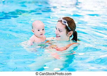 赤ん坊, 彼女, 若い, 息子, poo, 母, 楽しみ, 幸せ, 持つこと, 水泳