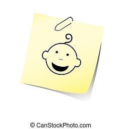 赤ん坊, 微笑, 頭, ベクトル, メモ