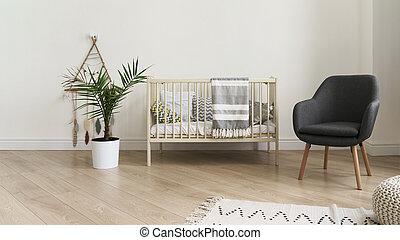 赤ん坊, 折畳み式ベッド, 現代, ベッド, 椅子, 寝室, 灰色