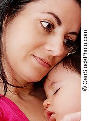 赤ん坊, 抱き合う, 若い, 彼女, 母
