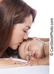 赤ん坊, 接吻, 女の子, 彼女, 母