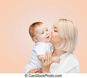 赤ん坊, 接吻, 幸せに微笑する, 母