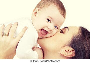 赤ん坊, 接吻, 幸せ, 母