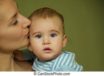 赤ん坊, 接吻, 彼女, 母