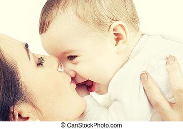 赤ん坊, 接吻, 母, 幸せ, 男の子