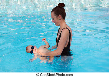 赤ん坊, 教授, 女, 水泳