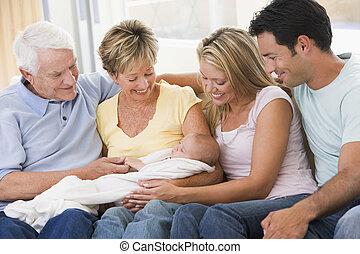赤ん坊, 暮らし, 微笑, 部屋, 家族
