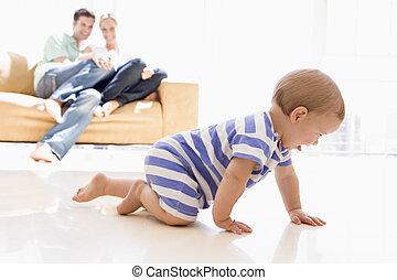 赤ん坊, 暮らし, 恋人, 部屋, 微笑