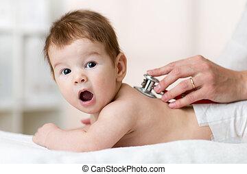 赤ん坊, 検査, 聴診器, 小児科医
