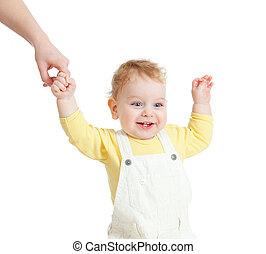 赤ん坊, 歩くこと, クローズアップ, 肖像画, 白