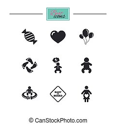 赤ん坊, 母性, 妊娠, icons., 心配