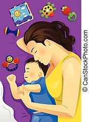 赤ん坊, 母, 一緒に, 睡眠