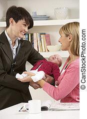 赤ん坊, 母, 乳母, 仕事, 去ること