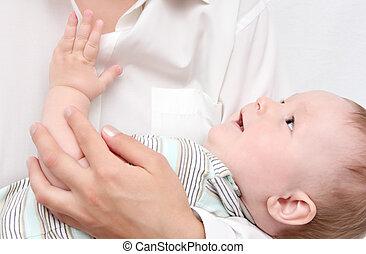 赤ん坊, 母, 手