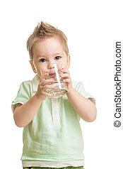 赤ん坊, 水, 飲む ガラス