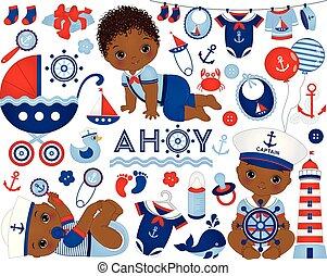 赤ん坊, 海事, ベクトル, アメリカ人, style., 男の子, セット, アフリカ, イラスト